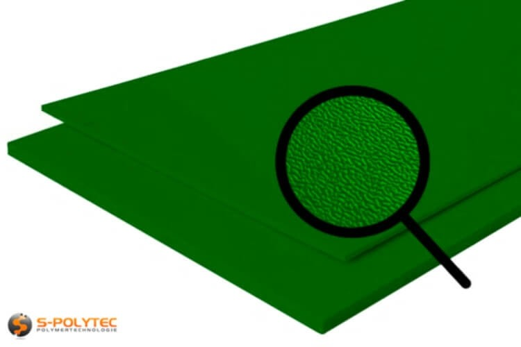 Polyethylene (PE) sheets green (nearly RAL 6005) both side grained 19mm