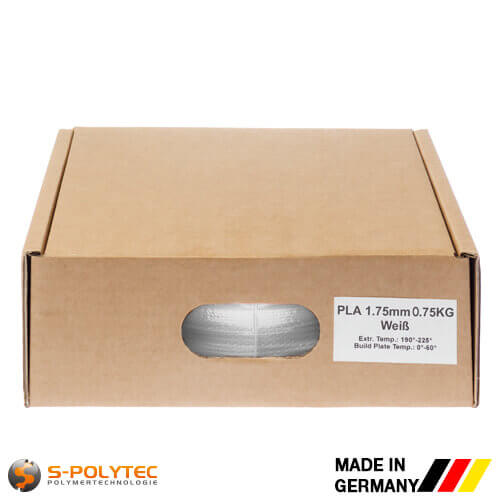 PLA filament white in high quality vacuum-packed in common diameters as 0.75kg coil