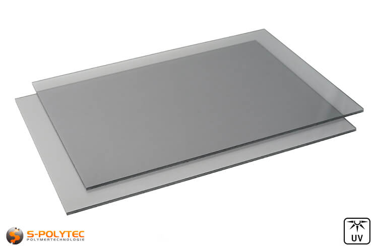 Polycarbonate sheets gray tinted in custom cut from 4mm - 6mm thickness