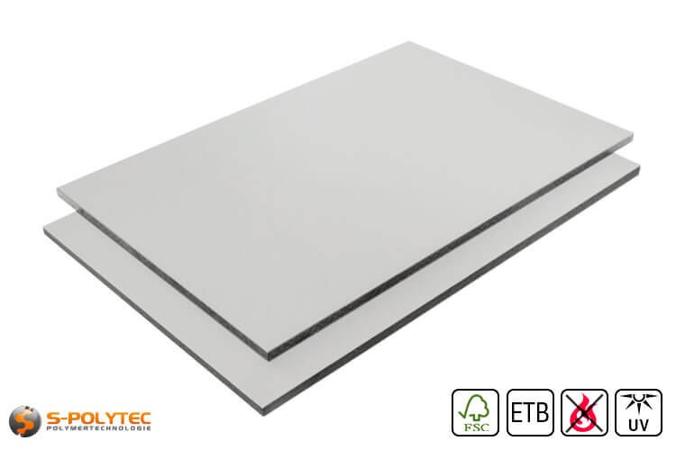 HPL sheet RAL7035 light grey low flammability with ETB fall protection in 6mm or 8mmmm