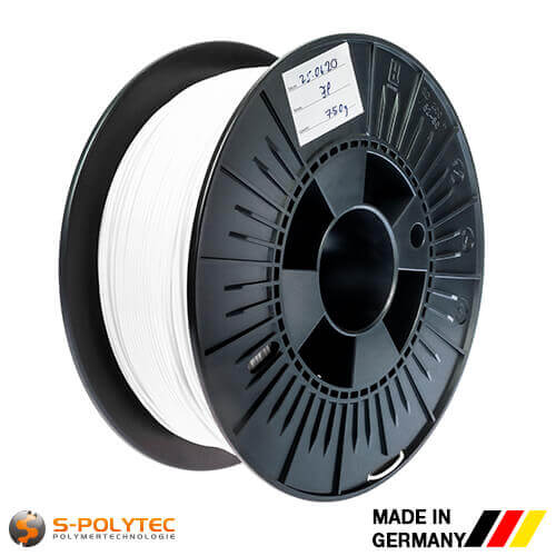 0.75kg high quality PLA filament white for 3D printing - Made in Germany