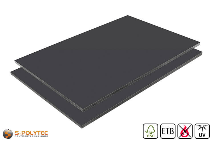 HPL sheet RAL 7016 anthracite low flammability with ETB fall protection in 6mm and 8mm