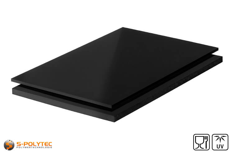 Polyethylene sheets (PE-UHMW, PE-1000) black with smooth surface from 8mm to 80mm thickness as standard size sheets 2.0 x 1.0 meters
