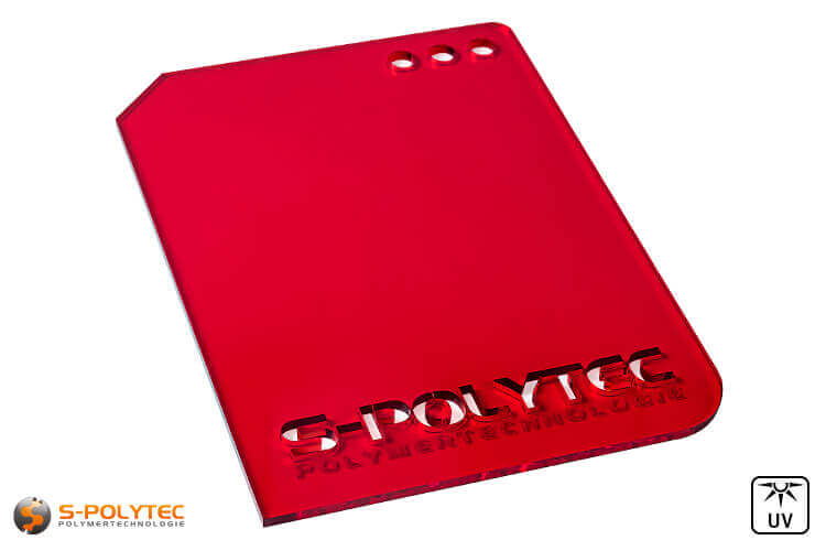 Acrylic glass red transparent in lasercut
