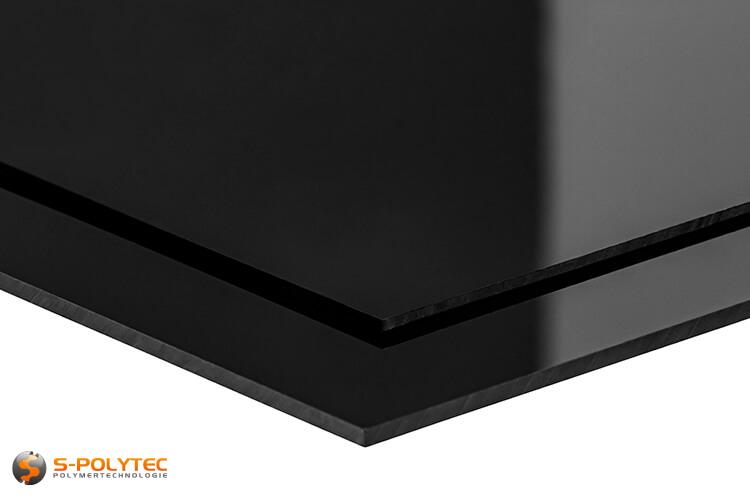 Polystyrol-Platten (PS) in schwarz, hochglänzend in Stärken von 2 - 3mm - Detailansicht