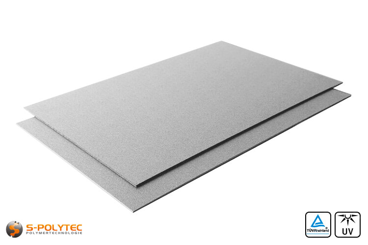 Grey ASA/ABS (RAL7040, window grey) as standard sheet 2000mmx1000mm of 2mm and 4mm thickness
