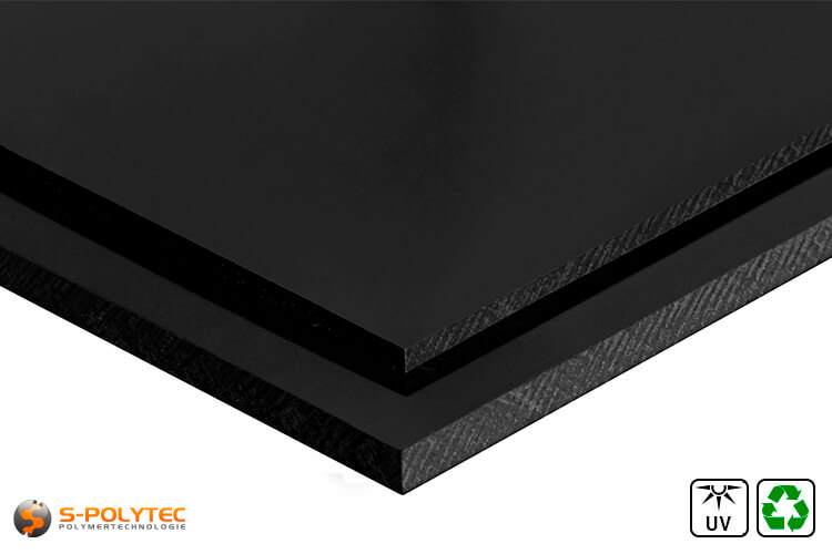 Polyethylene recyclate sheets (PE-UHMW, PE-1000) black from 10mm to 80mm thickness as standard size sheets 2.0 x 1.0 meters - detailed view