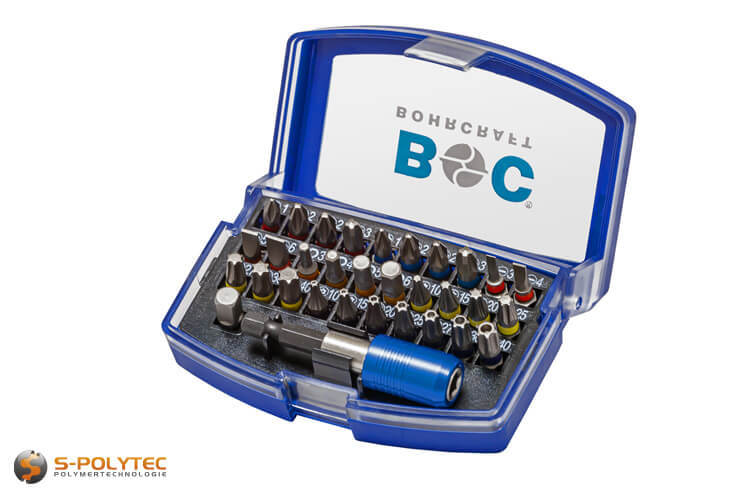 Professional bit set with 32 pieces made of high-quality S2 tool steel in transport box
