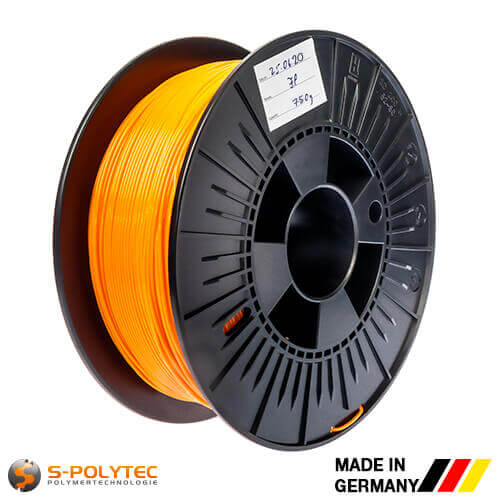 0.75kg high quality PLA filament orange (nearly RAL2005, Luminous orange)  for 3D printing - Made in Germany