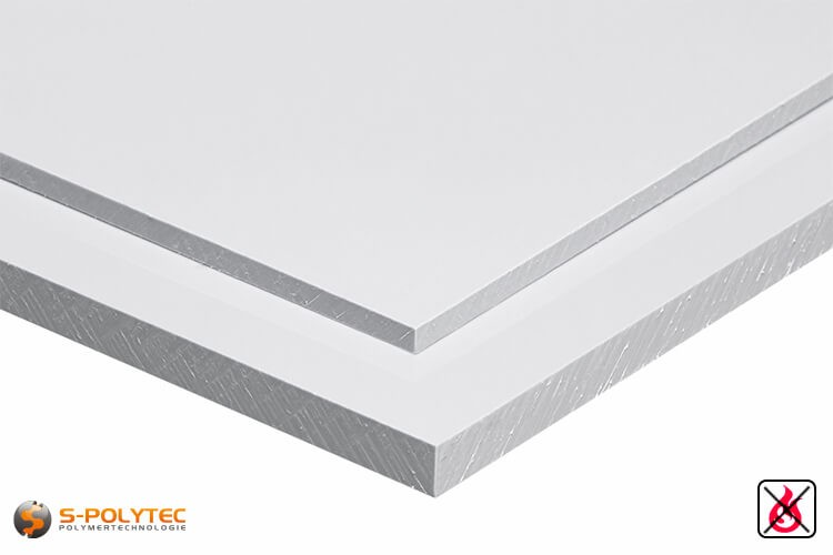 PVC sheets white hard-PVC (PVCU) from 1mm to 20mm thickness - detailes view