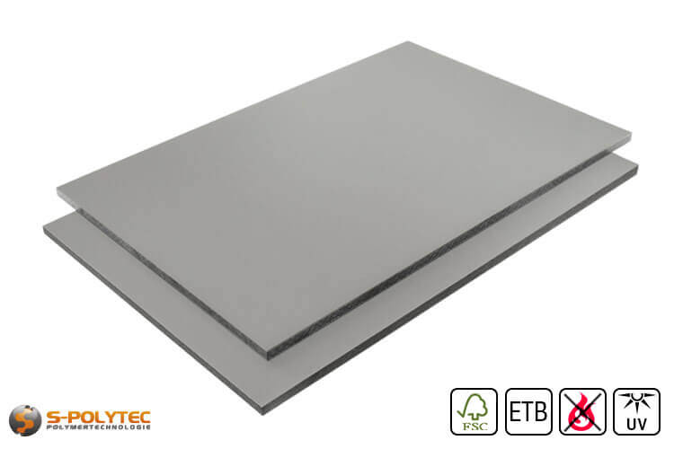 HPL sheet RAL7037 Dusty gray low flammability with ETB fall protection in 6mm and 8mm