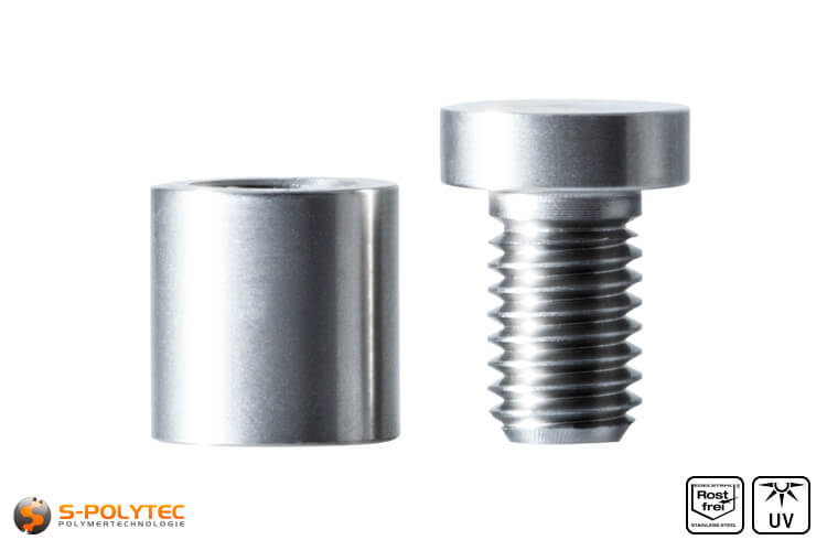 Spacer and screwable cover cap 13x13mm made fo stainless steel