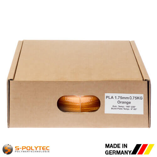 PLA filament orange (nearly RAL2005, Luminous orange) in high quality vacuum-packed in common diameters as 0.75kg coil