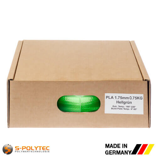 PLA filament light green (nearly RAL6018, Yellow green) in high quality vacuum-packed in common diameters as 0.75kg coil