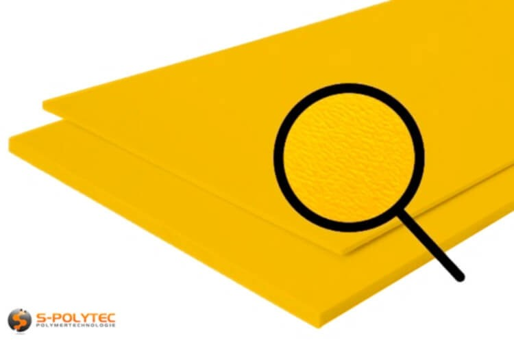 Poleyethylene (PE) sheets yellow (nearly RAL 1004) both side grained 19mm