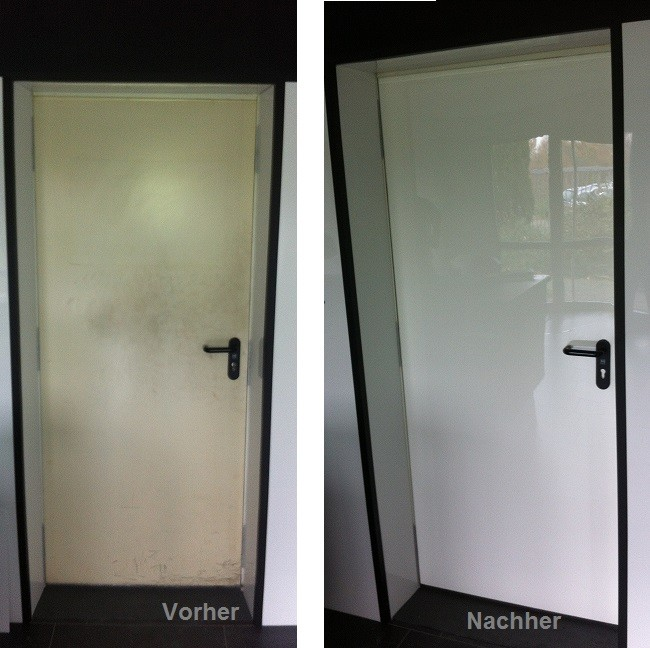 Before/After DecoVitas Snow-White on a door surface