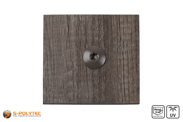 HPL screw on a hpl sheet with wood decor