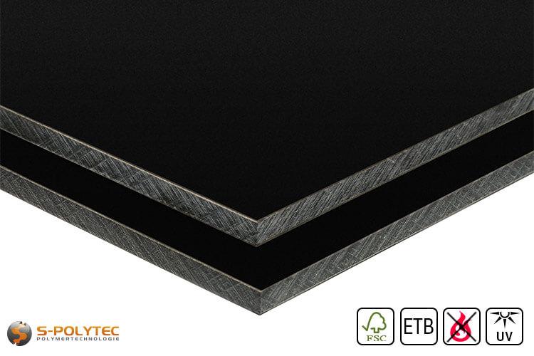 HPL panel RAL 9005 in custom cut (low flammability, ETB-admission)
