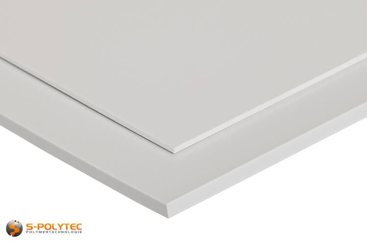 White HIPS as standard sized sheet in thicknesses from 1mm to 5mm - detailed view