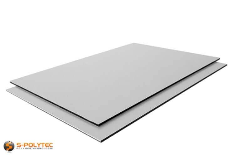 Aluminium composite panels 3mm (dibond) in silver brushed in custom cut