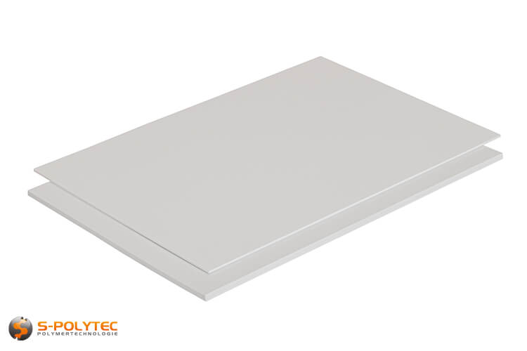 Polystyrene white (similar to RAL9003, signal white) as standard sized sheet 2000mm x 1000mm from 2mm to 5mm thickness