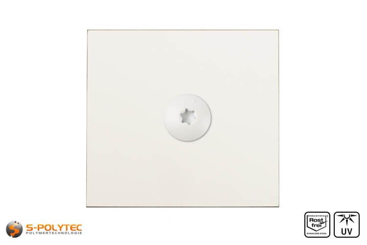 HPL screw on a cream white hpl sheet