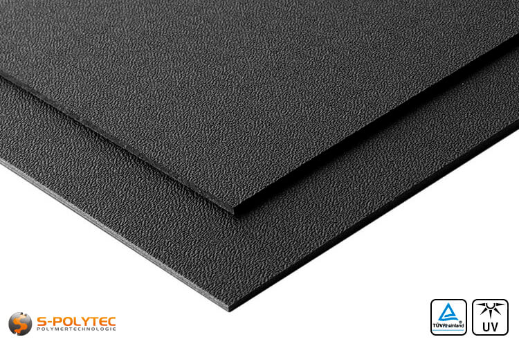 ASA/ABS sheets black with grained surface - detailed view