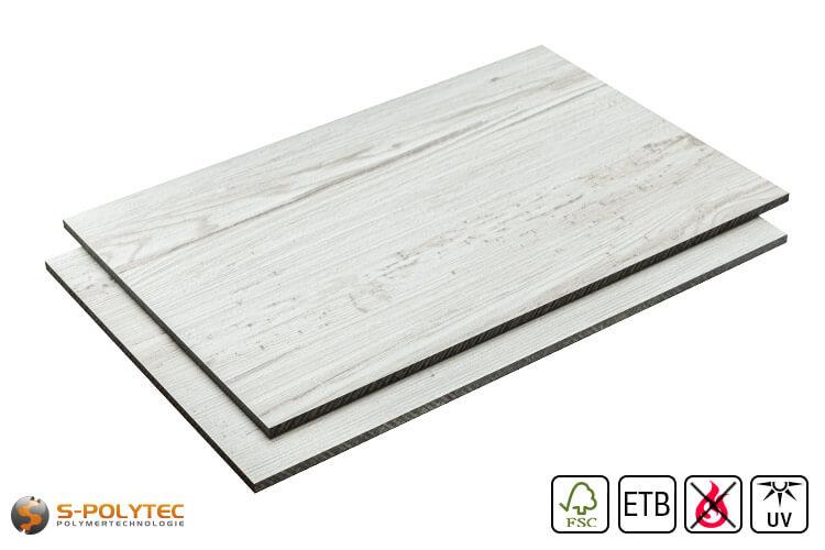 HPL sheets vintage look (oak white) in custom cut made to measure