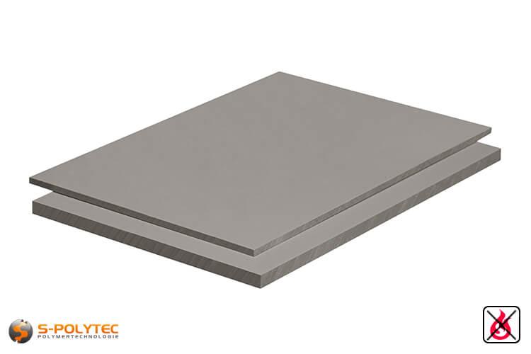 PVC sheets lightgray hard-PVC (PVCU) from 1mm to 30mm thickness as standard-size-sheet 2x1m
