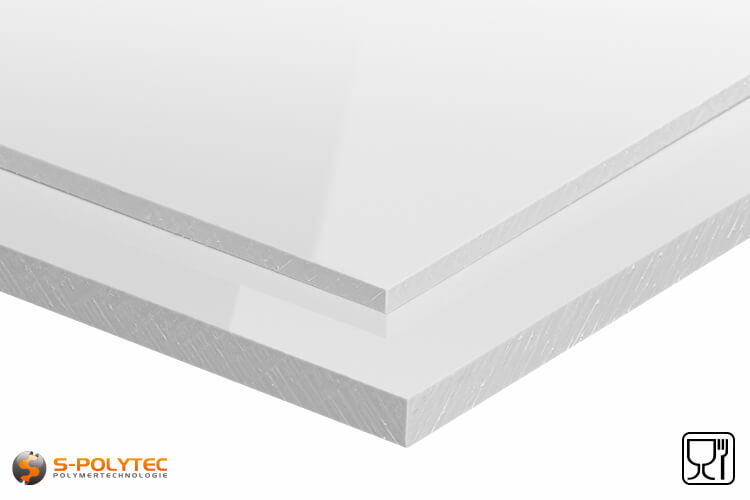 Polypropylene sheets (PP-H) white (similar to RAL9016) in thicknesses from 10mm - 20mm as standard-sized sheet - detailed view
