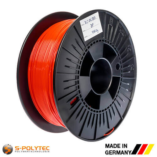 0.75kg high quality PLA filament red (nearly RAL3028, Pure red) for 3D printing - Made in Germany
