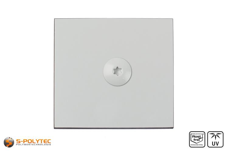 HPL screw on a light grey hpl sheet