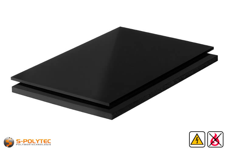 PP-EL-S sheets (electricalley conductive polypropylene) in black with smooth surface in thicknesses from 10mm - 30mm as standard size sheets 2.0 x 1.0 meters
