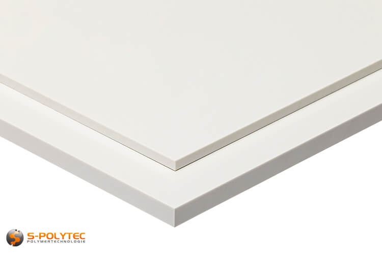 ABS sheets in white in  thicknesses from 1mm - 10mm as standard size sheets 2.0 x 1.0 meters - detailed view