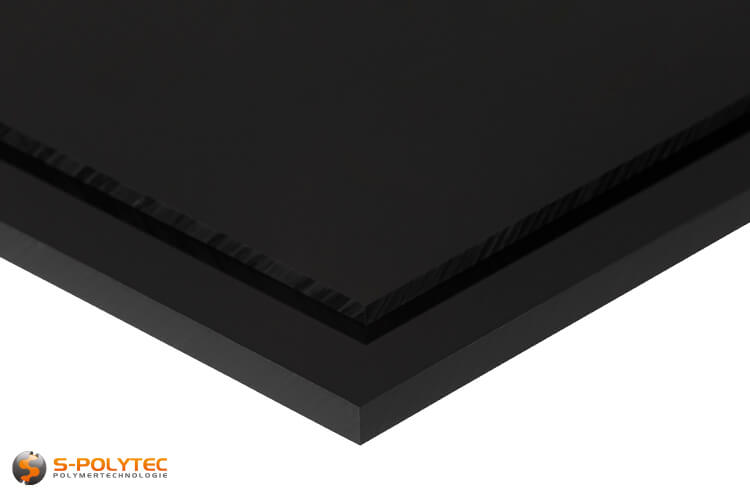 ABS sheets in black (similar to RAL9005, jet black) with smooth surface in thicknesses from 1mm - 10mm as standard size sheets 2.0 x 1.0 meters