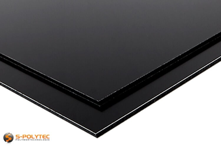 Aluminium composite panels (Alu-dibond) in black in custom cut - detailed view