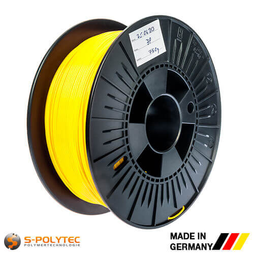0.75kg high quality PLA filament yellow (nearly RAL1023, Traffic yellow)  for 3D printing - Made in Germany