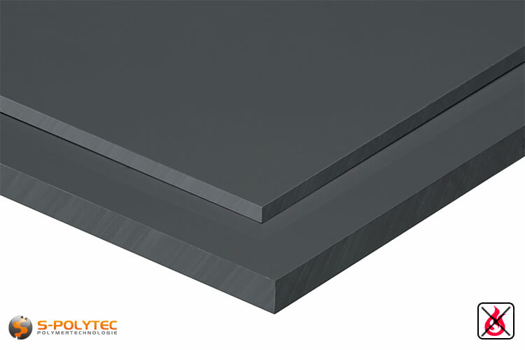 PVC sheets darkgray hard-PVC (PVCU) from 1mm to 50mm thickness - detailes view