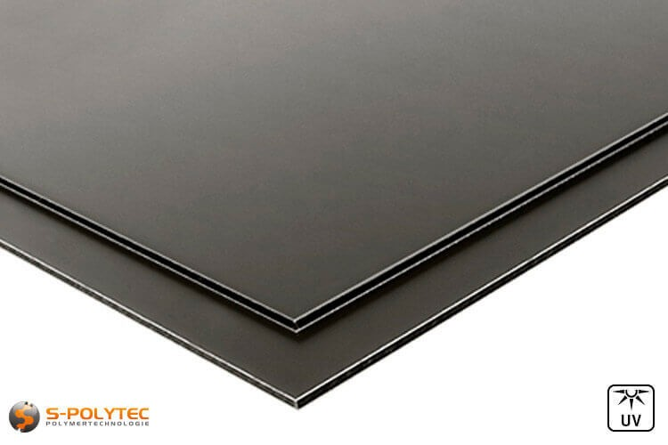Aluminium composite panels (Alu-dibond) in anthracite in custom cut - detailed view