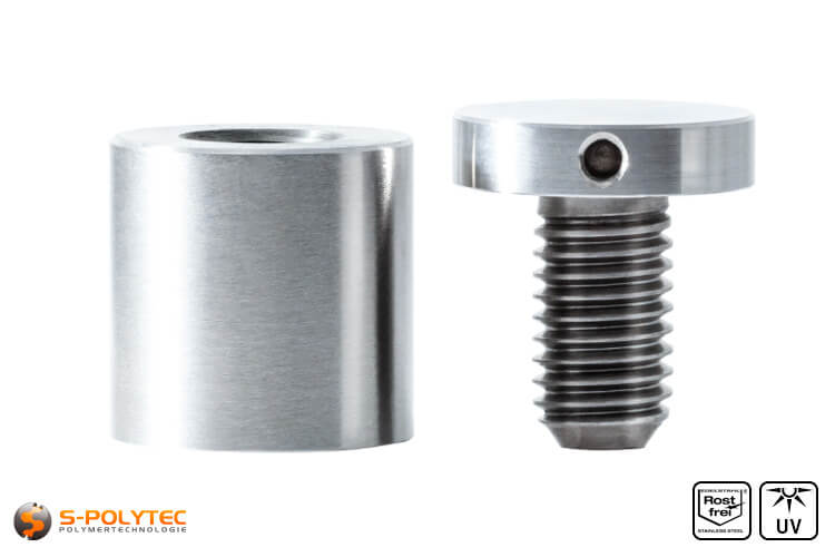 Spacer and screwable cover cap 25x25mmmm made fo stainless steel