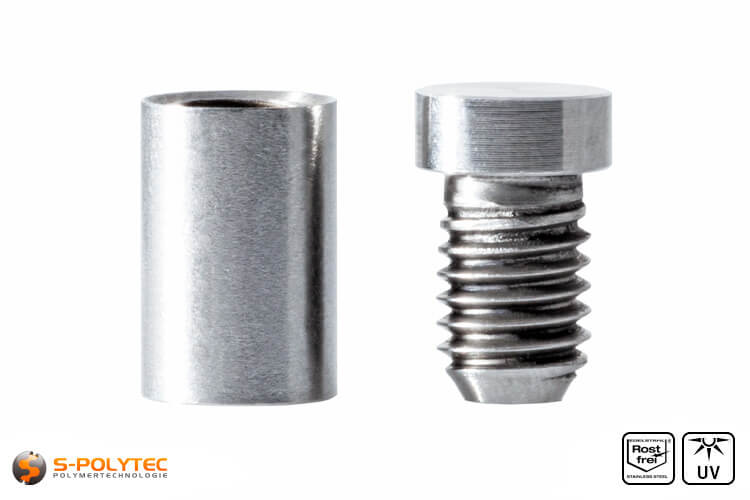 Spacer and screwable cover cap 10x15mm made fo stainless steel