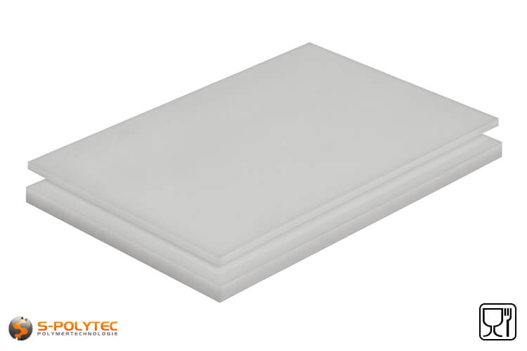 Polyethylene sheets (PE-UHMW, PE-1000) natural with smooth surface from 8mm to 100mm thickness as standard size sheets 2.0 x 1.0 meters