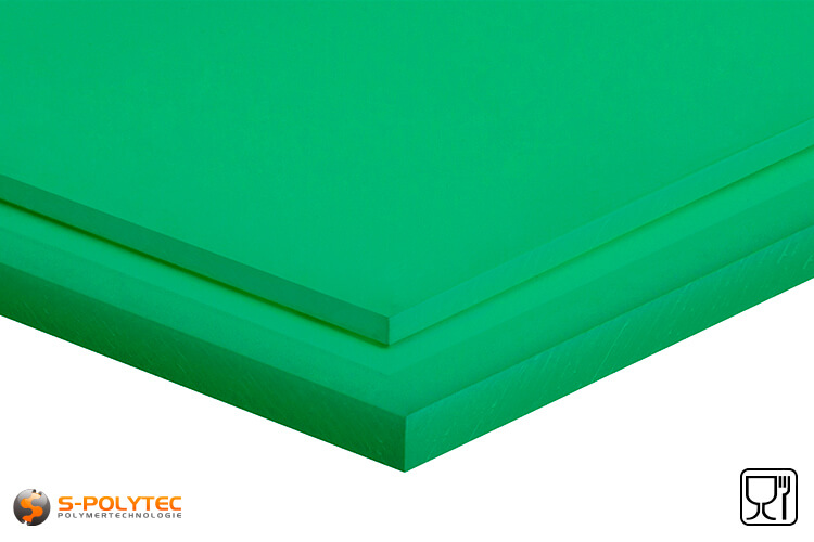 Polyethylene sheets (PE-UHMW, PE-1000) green from 8mm to 70mm thickness as standard size sheets 2.0 x 1.0 meters - detailed view