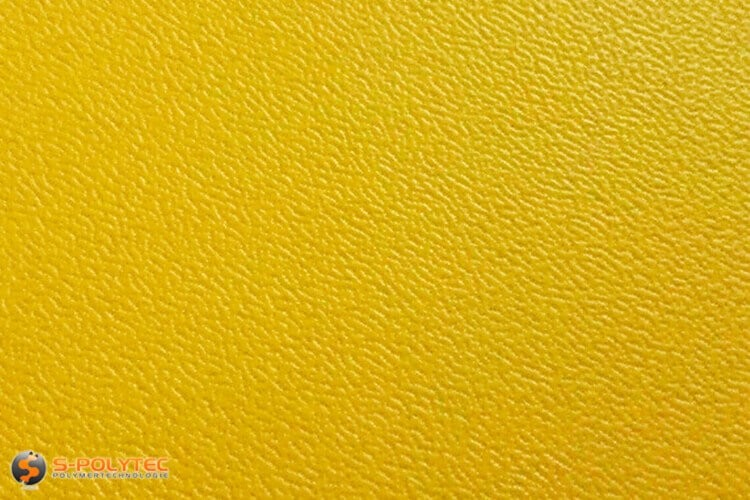 Poleyethylene (PE) sheets yellow (nearly RAL 1004) both side grained 19mm custom cut - detailed view