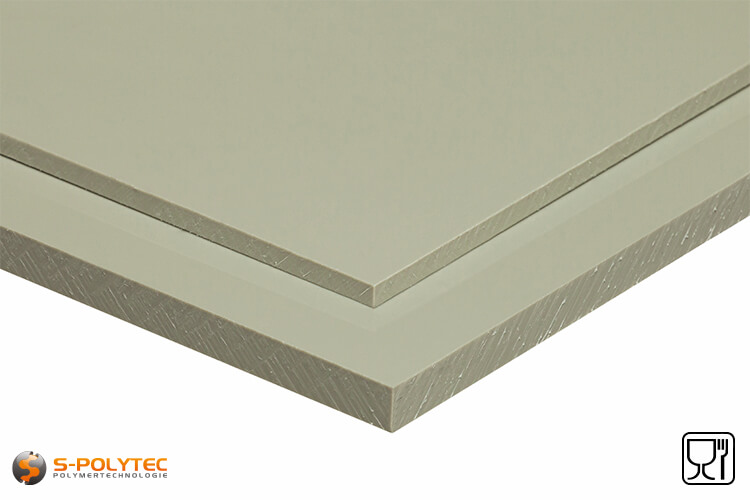 Polypropylene sheets (PP-H) gray (similar to RAL7032) in thicknesses from 1mm - 50mm as standard-sized sheet - detailed view