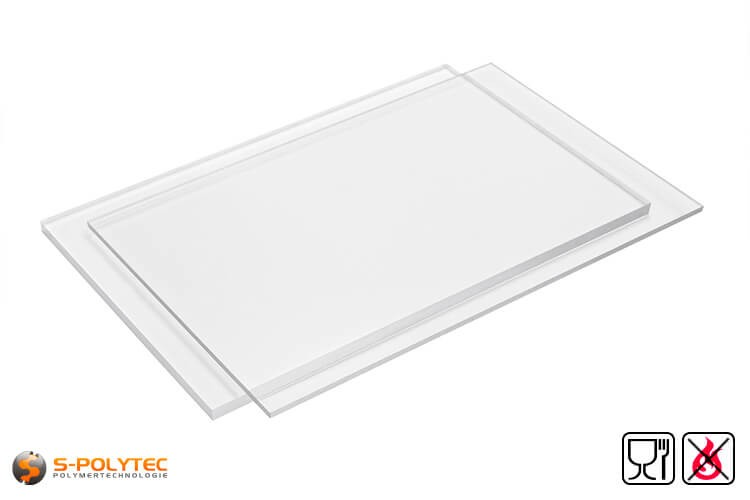 PETG sheets food compliant, low flammability as standard size sheets 2.0 x 1.0 meters