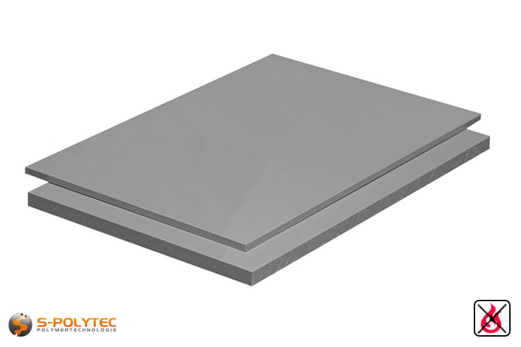 PP-S sheets (low flammability - DIN 4102 B1, polypropylene) in gray with smooth surface in thicknesses from 2mm - 20mm as standard size sheets 2.0 x 1.0 meters