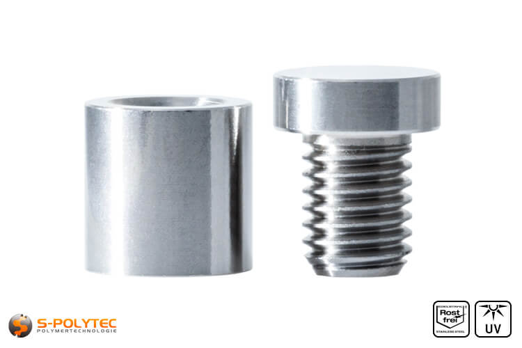 Spacer and screwable cover cap 15x15mm made fo stainless steel