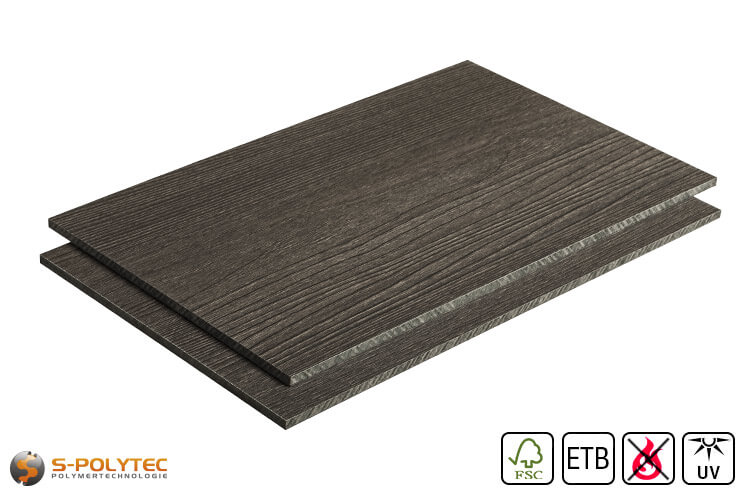 HPL sheet wood look dark ash low flammability with ETB fall protection in 6mm