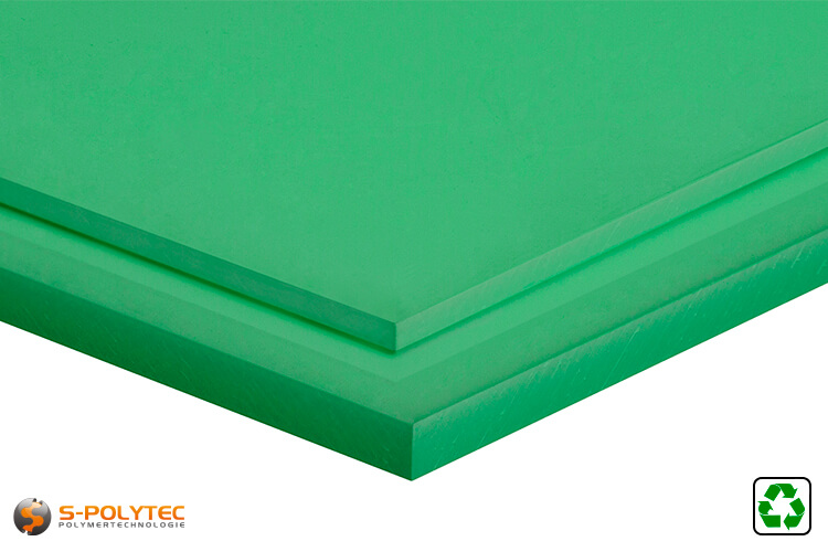 Polyethylene recyclate sheets (PE-UHMW, PE-1000) green from 10mm to 80mm thickness as standard size sheets 2.0 x 1.0 meters - detailed view